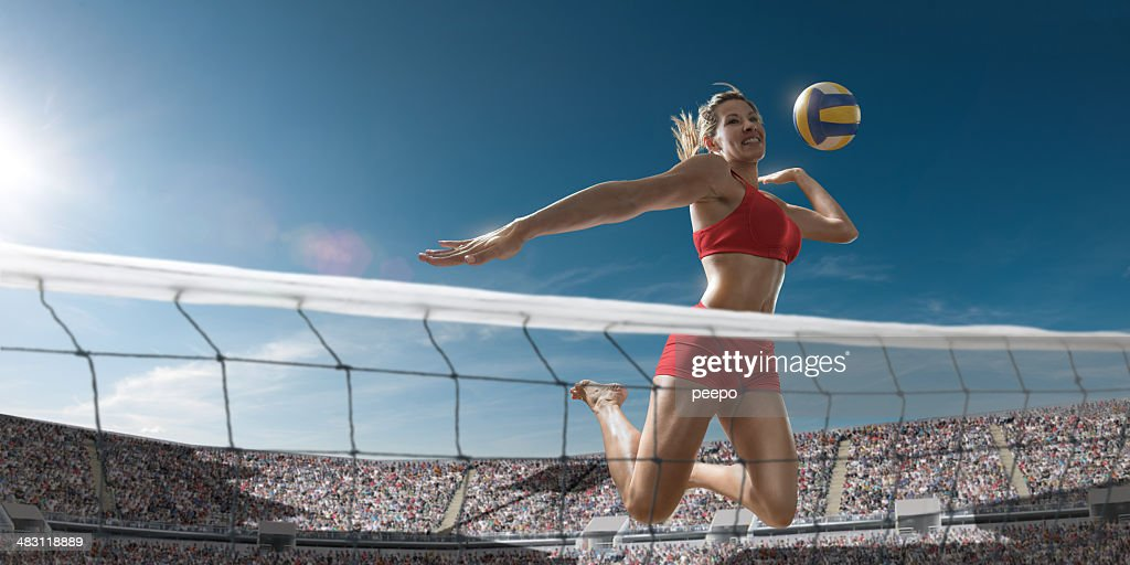Volleyball Girl About To Score : Stock Photo