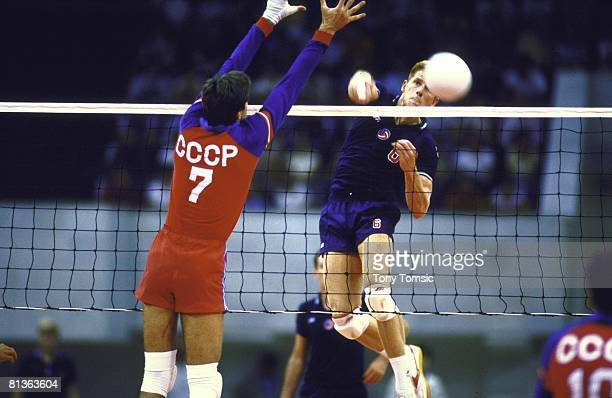 Volleyball Goodwill Games USA Steve Timmons in action making spike vs USSR Moscow USR 7/1/1986
