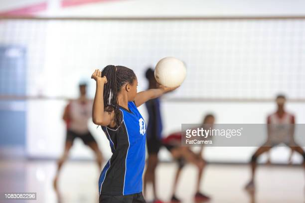 volleyball match - high school volleyball stock photos and pictures