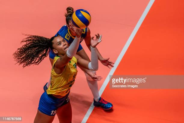 Volleyball Nations League Netherlands Brazil Apeldoorn Amanda Francisco of Brazil during the Nations League Women match between Holland v Brazil at...