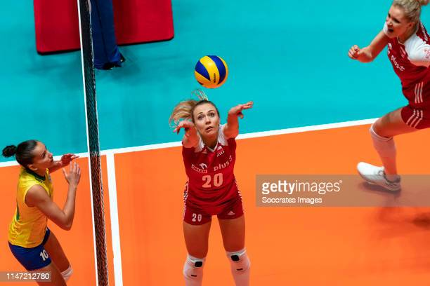 Volleyball Nations League Poland Brazil Apeldoorn Marlena Plesnierowicz of Poland Gabriela Braga Guimaraes C of Brazil during the Nations League...