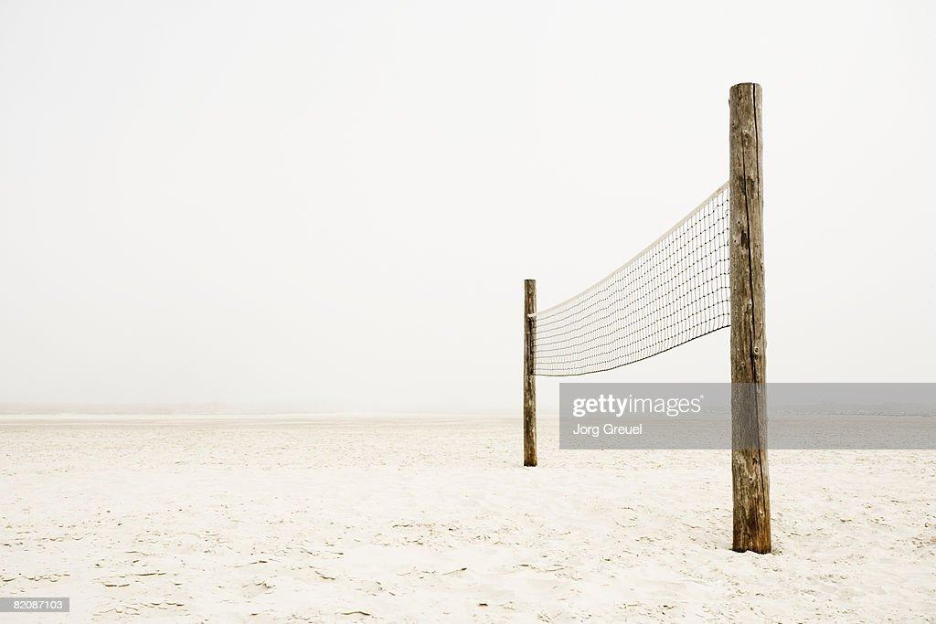 Volleyball net on beach : Stock Photo