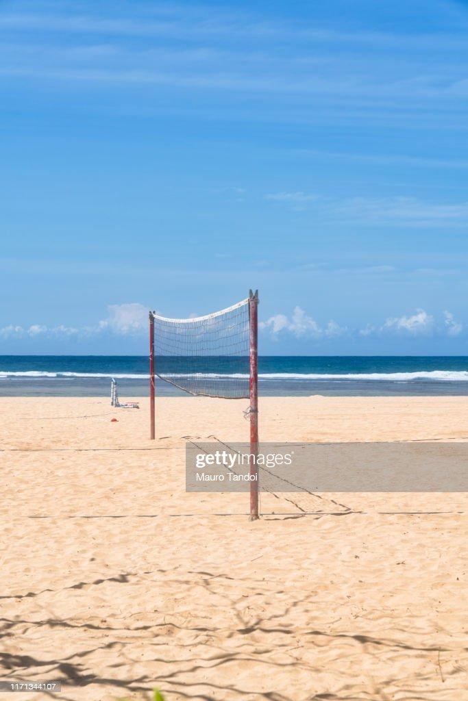Volleyball net on Nusa Dua beach, Bali Island : Stock Photo