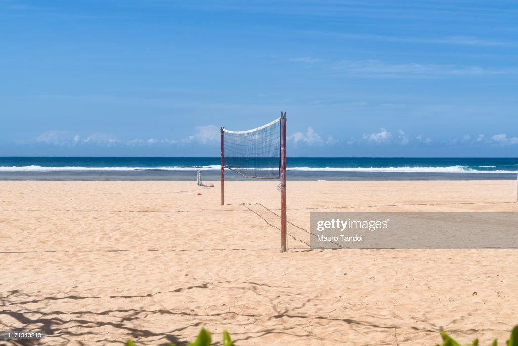 Volleyball net on Nusa Dua beach : Foto stock