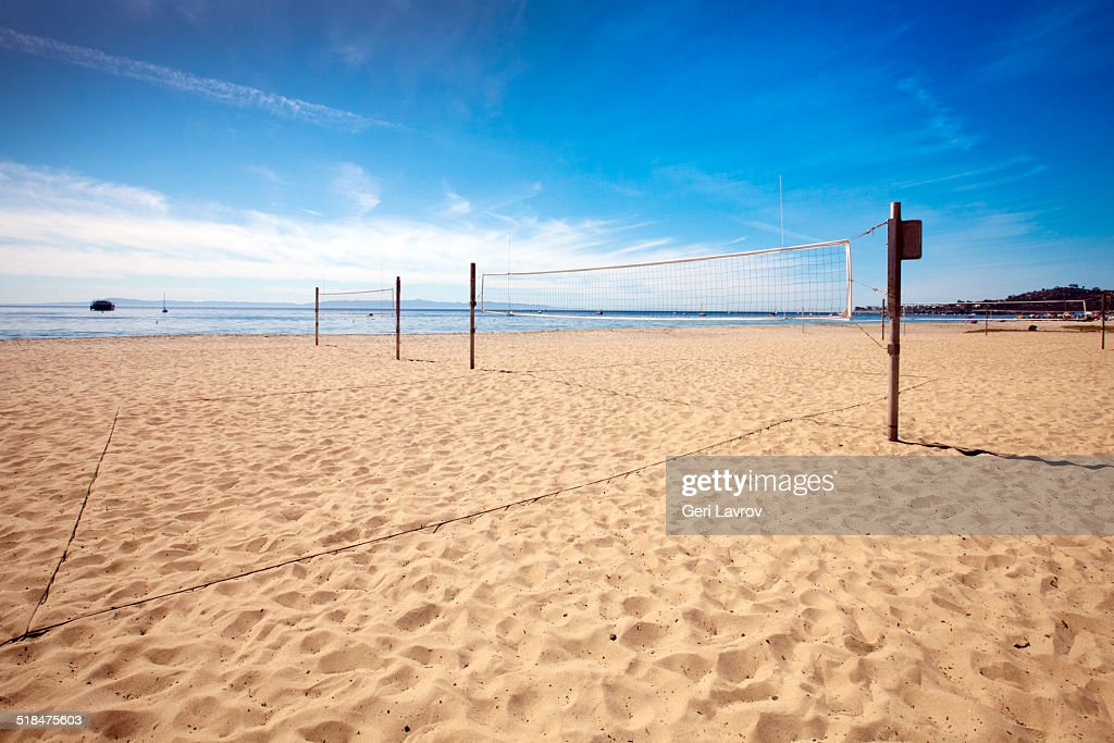 Volleyball nets at East Beach: Santa Barbara, CA : Stock Photo