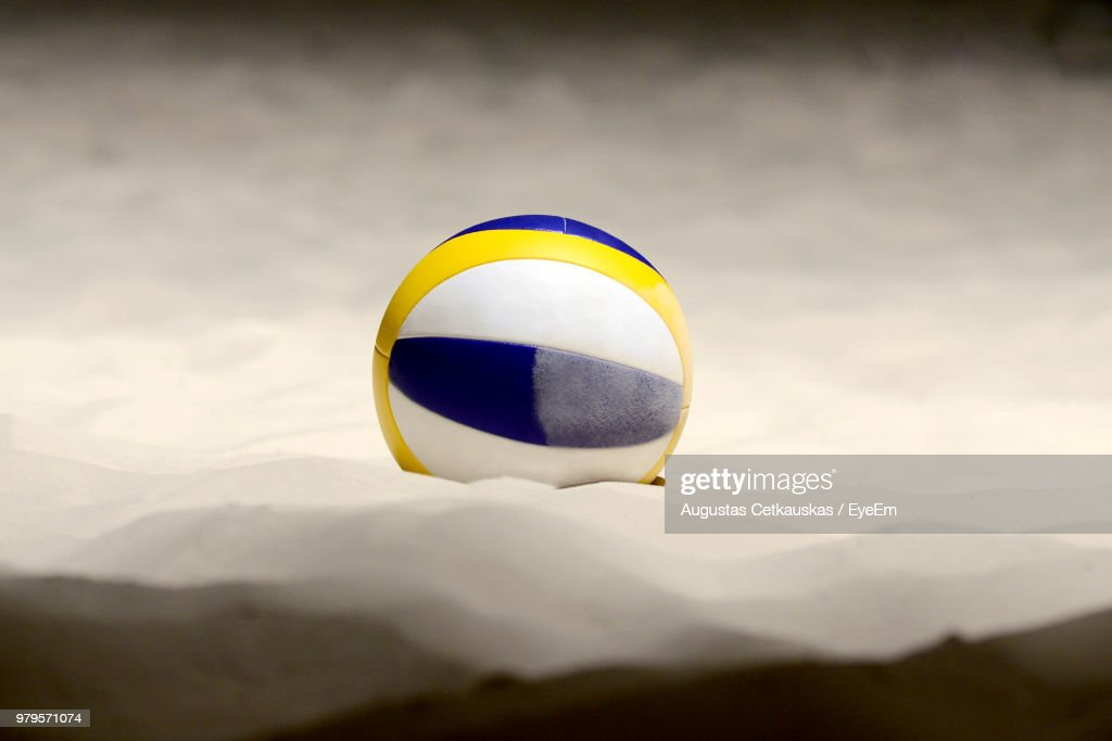 Volleyball On Sand At Beach : Stock Photo