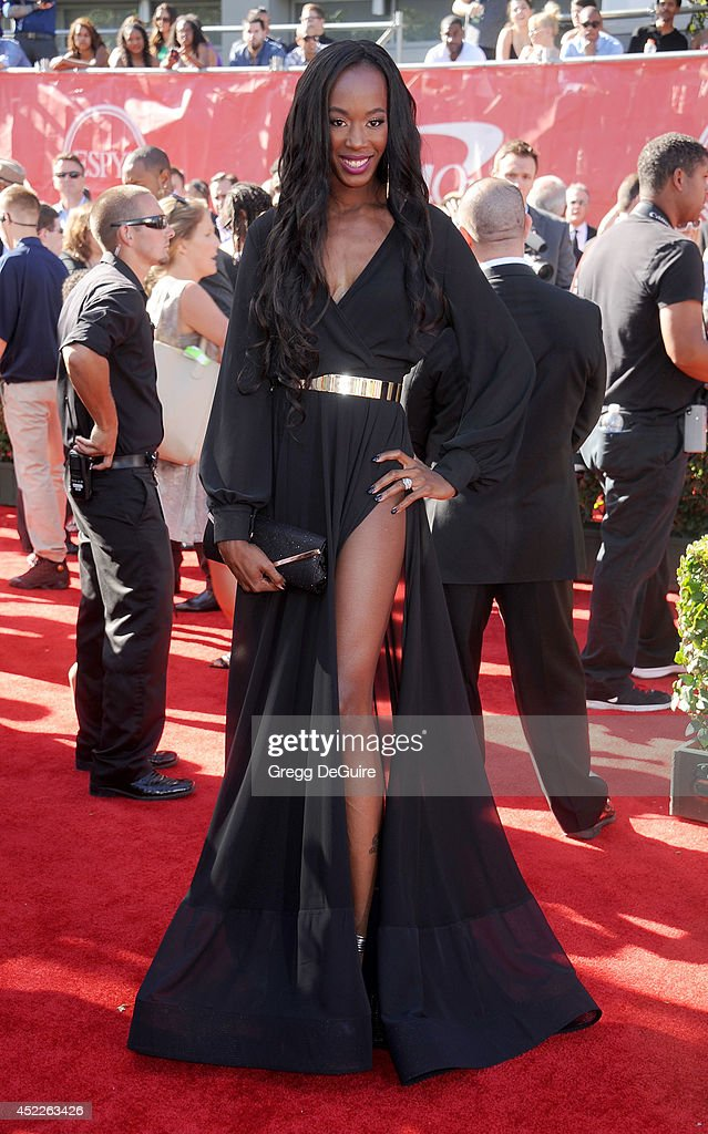 US volleyball player Destinee Hooker arrives at the 2014 ESPY Awards at Nokia Theatre L.A. Live on July 16, 2014 in Los Angeles, California.
