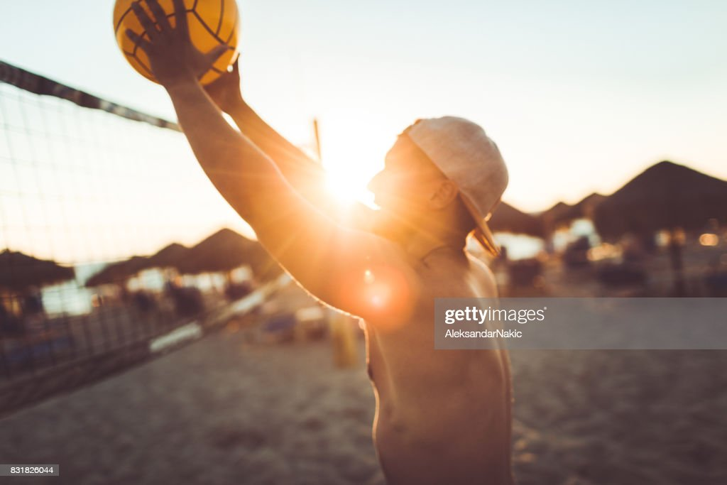 Volleyball-Spieler in Aktion : Stock-Foto