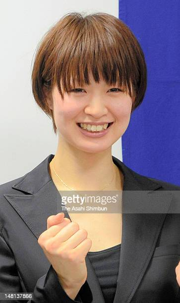 Volleyball player Saori Kimura poses for photographs during a press conference on her move to Turkish league side VakfBank at Toray headquaters on...