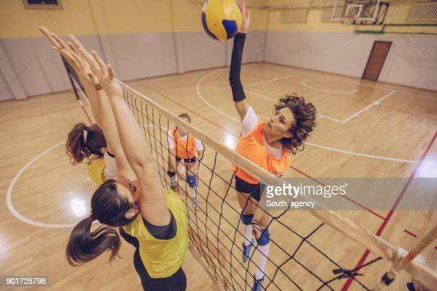 volleyball player spiking the ball - spiking stock photos and pictures