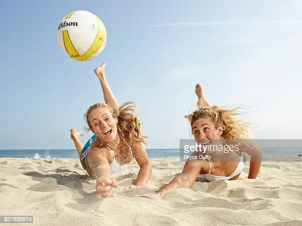 Volleyball players Jennifer Kessy and April Ross are photographed for Outside Magazine on May 16 2013 in Los Angeles California
