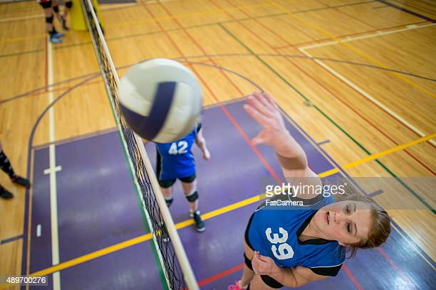 volleyball spike - high school volleyball stock photos and pictures