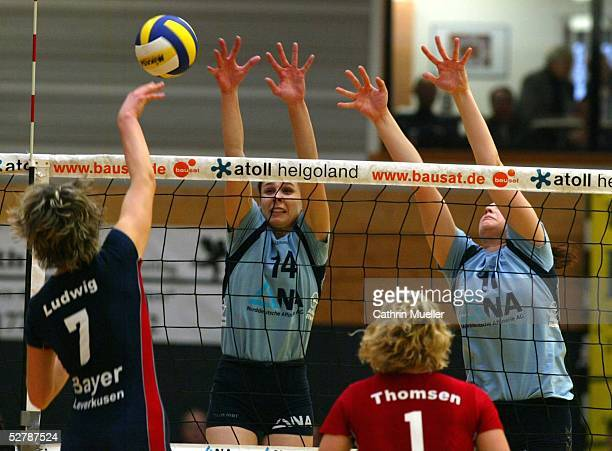 Volleyball/Frauen 1 Bundesliga 04/05 Fischbek/Hamburg 300105TV Fischbek TSV Bayer 04 LeverkusenLaura LUDWIG/Leverkusen Elena KELDIBEKOVA DE...