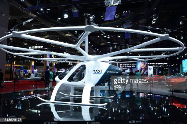 Volocopter, an electrically powered drone taxi, is on display during the 19th Shanghai International Automobile Industry Exhibition at National...