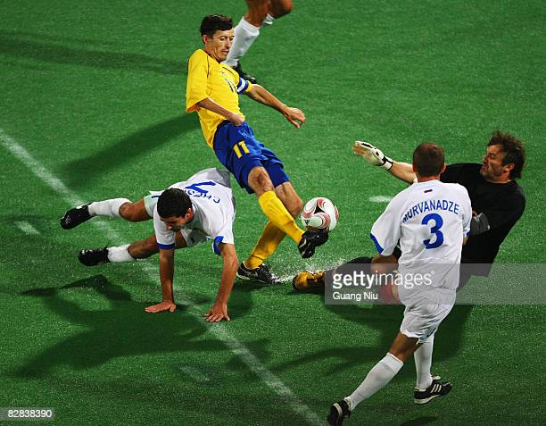 Volodymyr Antonyuk of Ukraine competes in the FiveASide Football match between Russia and Ukraine at Olympic Green Hockey Field A during day eleven...