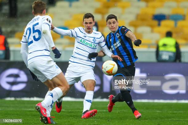 Volodymyr Shepeliev of Dynamo Kiev and Federico Ricca of Club Brugge during the UEFA Europa League match between FC Dynamo Kyiv and Club Brugge at...