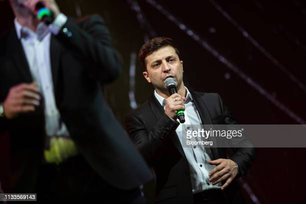 Volodymyr Zelenskiy a comedian performs during an event in Brovary Ukraine on Friday March 29 2019 Ukraine votes on Sunday in the first round of its...