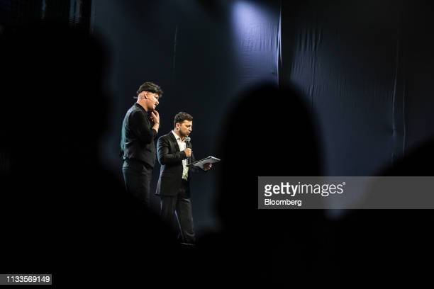 Volodymyr Zelenskiy a comedian right speaks during an event in Brovary Ukraine on Friday March 29 2019 Ukraine votes on Sunday in the first round of...