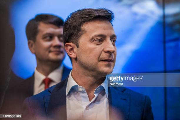 Volodymyr Zelenskiy candidate for President of Ukraine in the second round elections in his headquarters after closure of polling stations