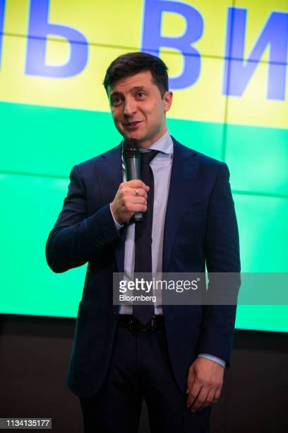 Volodymyr Zelenskiy comedian and presidential candidate speaks to members of the media following election results in Kiev Ukraine on Sunday March 31...