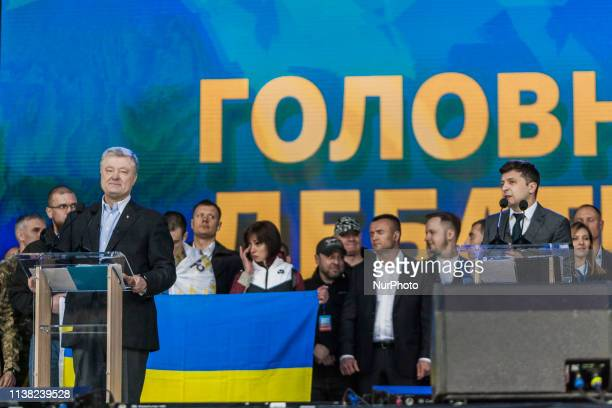 Volodymyr Zelenskiy right gives a speech to the people during the debate with the candidate for the Presidency of Ukraine Petro Poroshenko left at...