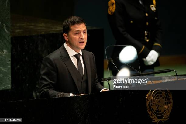 Volodymyr Zelenskiy Ukraine's president speaks during the UN General Assembly meeting in New York US on Wednesday Sept 25 2019 Donald Trump asked...