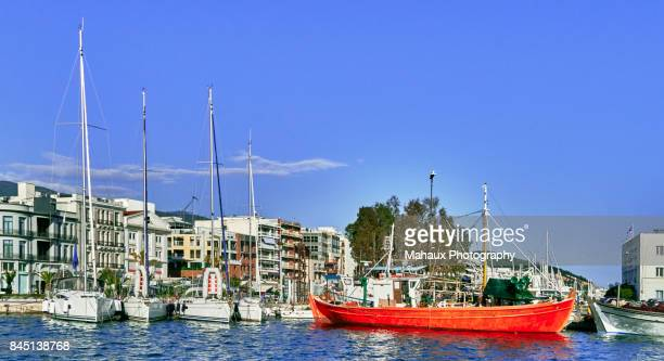volos and its waterfront and harbour - volos stock pictures, royalty-free photos & images