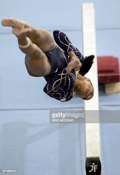 France's Katheleen Lindor performs on the balance beam during the final round of the 26th European Women Artistic Gymnastics Championship at the...