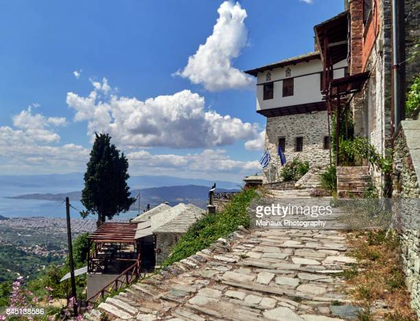 volos seen from makrinitsa, the balcony of mount pelion - thessaly stock pictures, royalty-free photos & images