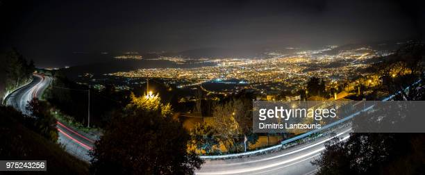 volos view by night - volos stock pictures, royalty-free photos & images