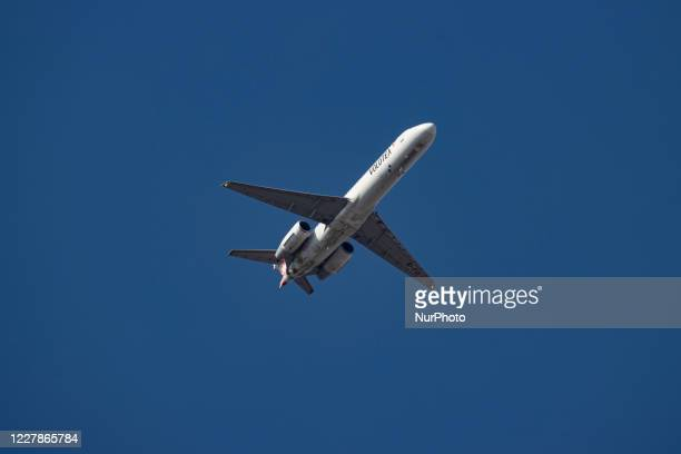 Volotea Airlines Boeing 717-200 aircraft flying over the city of Thessaloniki. The airplane of the Spanish low-cost airline is a 17 years old Boeing...