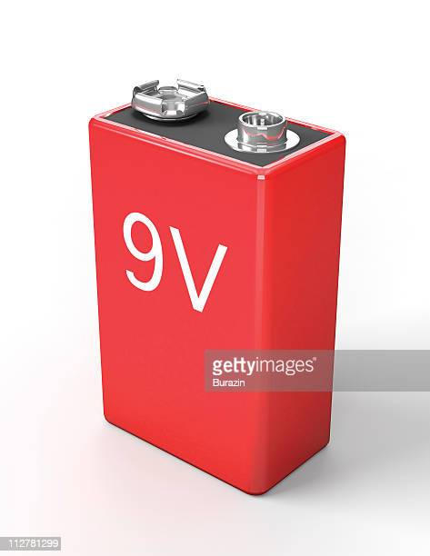 9 volt battery on white - number 9 stock pictures, royalty-free photos & images
