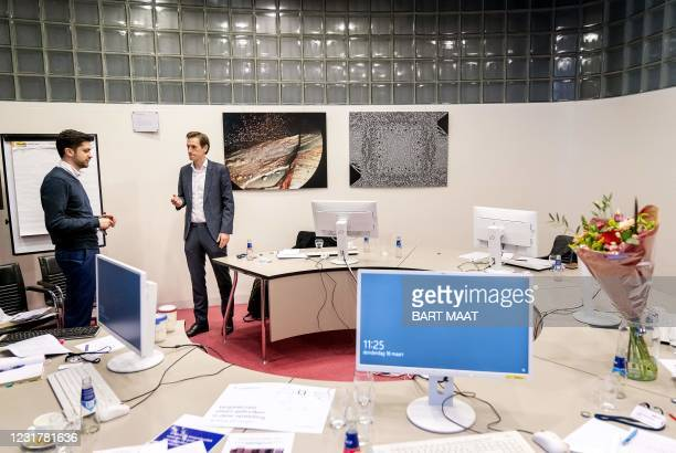 Volt leader Laurens Dassen at the Binnenhof in The Hague, on March 18 the day after the Dutch parliamentary elections. - Dutch Prime Minister Mark...