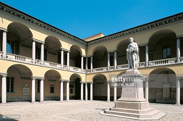 Volta courtyard with the statue of the Italian scientist Alessandro Volta University of Pavia Lombardy Italy