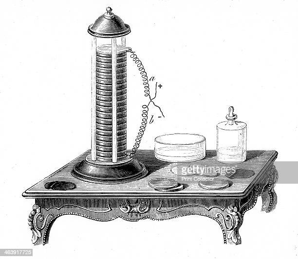 Voltaic battery 1887 A battery of the type invented by Italian physicist Alessandro Volta It consists of a disc of zinc a disc of copper a disc of...