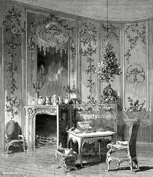 Voltaire French philosopher and writer Voltaire's room in the Sanssouci Palace in Potsdam Engraving by A Closs Universal History 1885