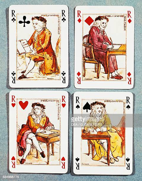 Voltaire Rousseau Moliere and La Fontaine playing cards from the second year of the French Revolution France 18th century