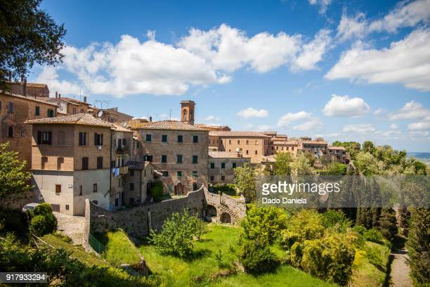 volterra panorama - florence italy stock pictures, royalty-free photos & images