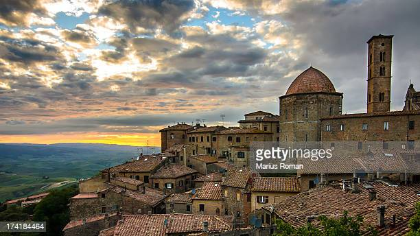 volterra rooftops. - volterra stock photos and pictures