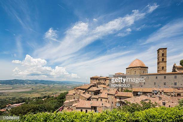 volterra skyline with cathedral of santa maria assunta, tuscany italy - volterra stock photos and pictures