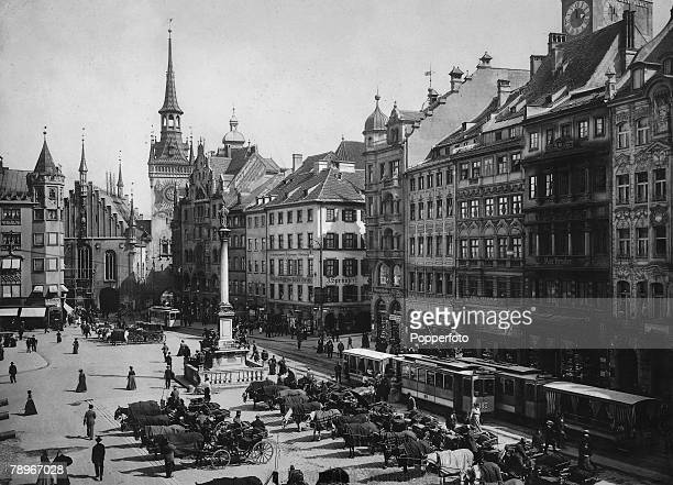 Page 48 Picture 5 Cities Munich Germany A general street scene view showing the Marienplatz circa 1900