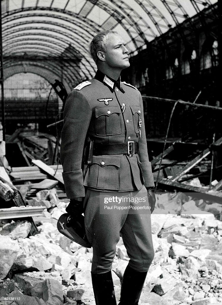 """Volume 2, Page 102, Picture 4, 1958, American Actor, Marlon Brando in the film """" The Young Lions """" in which he played a Nazi soldier in World War II : News Photo"""