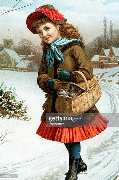 Volume 2 Page 105 Picture 6 Victorian Chromolithograph showing a girl with kittens in a basket walking in the snow