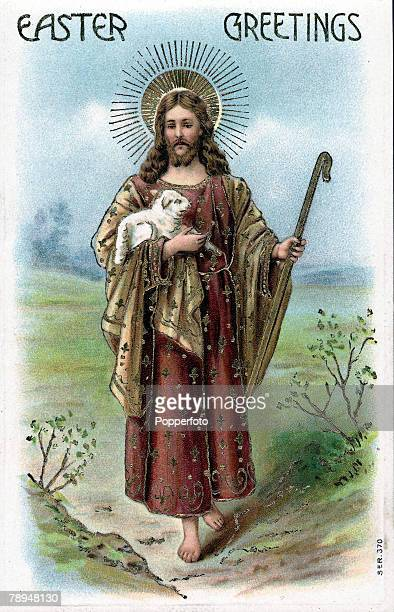 Volume 2 Page 109 Picture 10 Colour Illustration of Easter greetings showing Jesus holding a lamb
