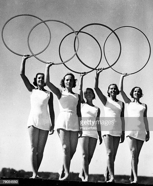 Volume 2 Page 24 Picture 10 1936 Olympic Games Berlin Germany Five young women take part in a display of the Olympic Rings