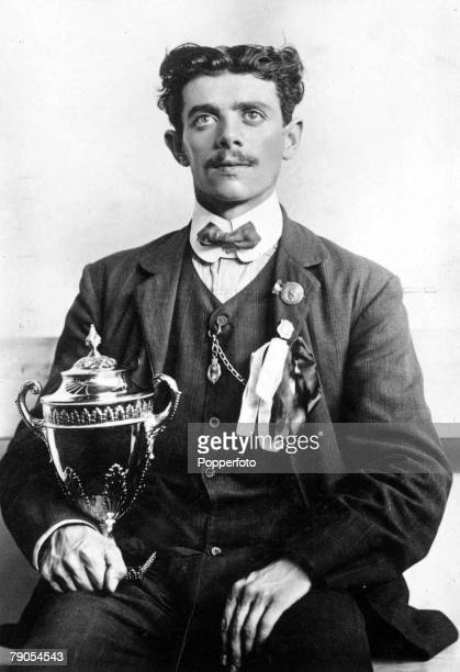 Picture: 3, Athletics, Track And Field, 1908 Olympic Games, London, England, Dorando Pietri holding the Queen's cup, which he was awarded as a...