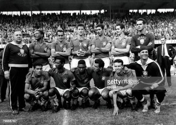 Volume 2 Page 33 Pic 10 1958 World Cup Final Sweden v Brazil World Champions Brazil with the Jules Rimet trophy Stockholm 1st July 1958