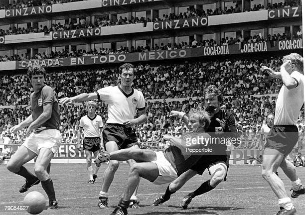 34 Picture 5 Football 1970 World Cup Quarter Final Leon Mexico 15th June West Germany 3 v England 2 Englands Brian Labone and Francis Lee challenge...