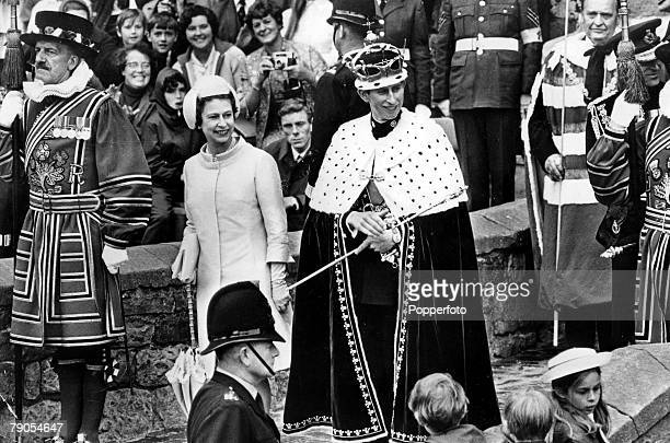 Volume 2, Page 41 Picture 10, Caernavon, Wales, 1st July 1969, Prince Charles with his mother Queen Elizabeth II at his Investiture ceremony, wearing...