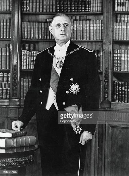 42 Picture 1 5th May Official formal portrait of French President Charles De Gaulle wearing the formal evening dress of the French Army officers with...